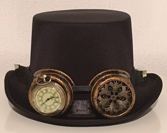 Steampunk top hat with goggles size M