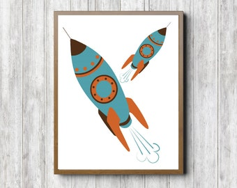 Rocket Ship Wall Decal Mid Century Space Ship Vinyl Art