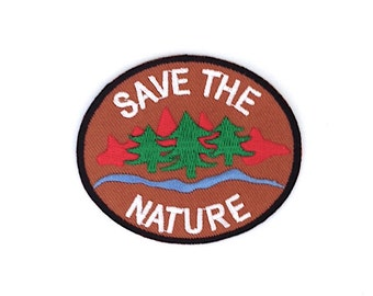 Save the Green Nature Brown Applique Iron on Patch Size 8 x 6.8 Cm