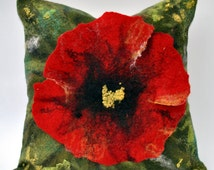 Pillow cover with poppy seeds / Pillows / Handmade pillowcase / wool pillows / !!! FREE SHIPPING !!!