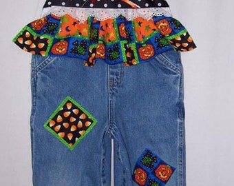 Custom Boutique Fall Halloween Pumpkin Candy Corn overalls all sizes available