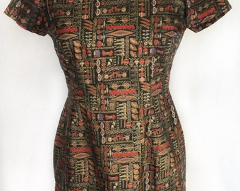 Vintage 1960's Handmade Asian Inspired Dress with Mandarin Collar