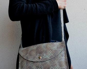 Crossbody Purse, Grey Crossbody Bag, Suede Clutch Purse, Suede Handbag, Small Purse, Suede Purse, Patterned Cell Bag, Accessories