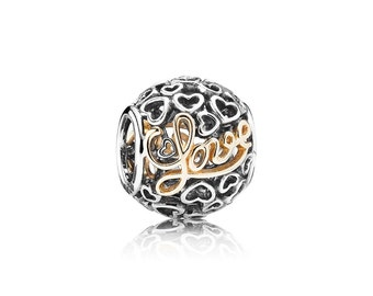 silver charm sterling silver charms beads fits authentic Pandora and European charm bracelets love
