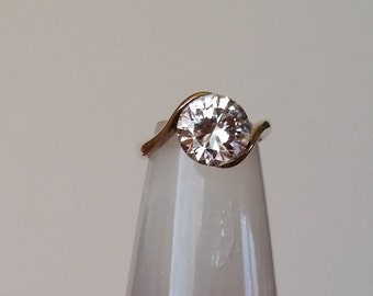Large CZ Solitare in Sterling Silver Ring