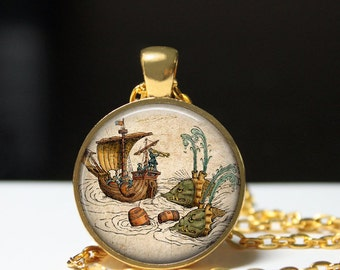 Sea monsters pendant Nautical pirate ship necklace Antique steampunk jewelry