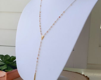 Pink Opal Spike Lariat