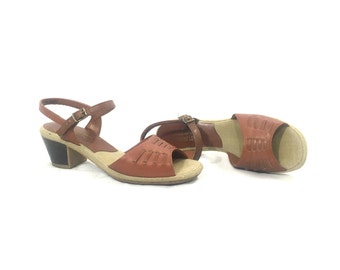 1970's Heels | Naturalizer Dark Tan Peeptoe Heels | Size: 7M