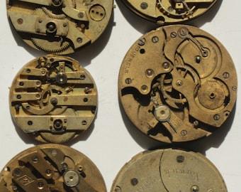 Set of 6 Parts Watch Steampunk Movements Mechanims Art 40 mm DIY