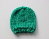0 -3 Months Hat, Newborn Hat, Baby Boy Hat, Baby Girl Hat, Hand Knit Hat, Infant Hat, Green