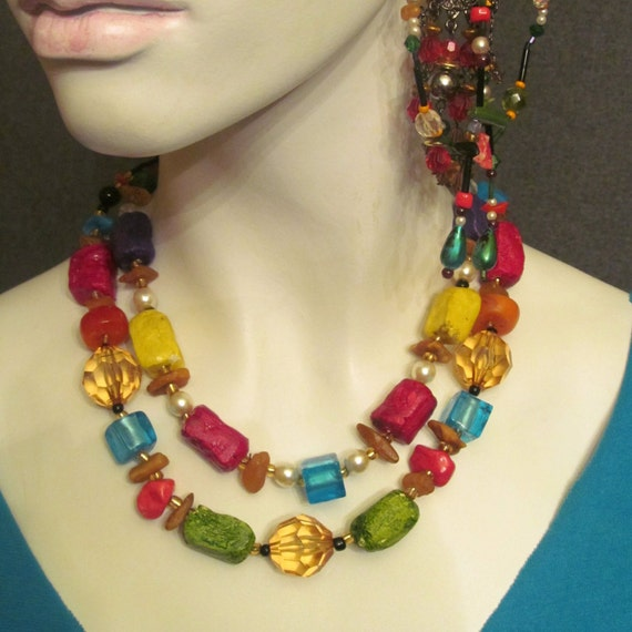 Necklace. Jewelry. Handmade necklace. boho necklace colours ; yellow, gold, turquoise, green, black.