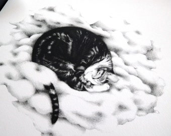 PRINT CAT. Print b&w from original drawing. Sweet cat sleep on a heart cloud.