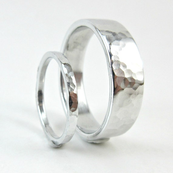 Hammered aluminum ring set 10 year anniversary bands his and like this item junglespirit Image collections