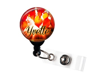 Personalized Autumn Sunlight, Retractable ID Badge Reel (D_157)
