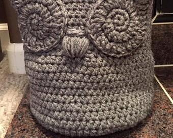 Crochet Owl Basket, Crochet Basket, Crocheted Basket, Yarn Basket, Home Decor Basket, Soft Basket, Crochet Owl Soft Yarn Basket, Owl Soft