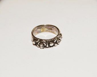 Vintage 1950's Sterling Rose Band Ring Size 5.