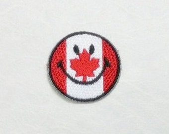 Canad Smiley Face Iron on Patch - Canada Flag Applique Embroidered Iron on Patch/Canada Flag  Patch