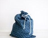 Linen Lingerie Bag - Blue laundry bag with polka dots - Underwear bag -  Gift for her