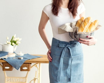 Half Apron - 100% Linen Cafe APRON - Chef Apron - Dusty blue apron