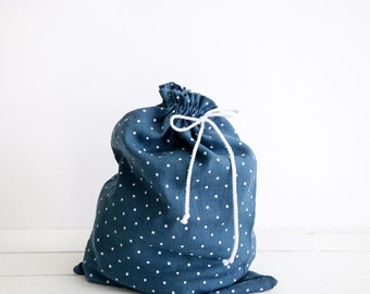 Linen Lingerie Bag - Blue laundry bag with polka dots - Underwear bag -  Gift for her