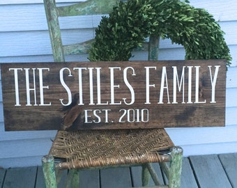 Last name sign, family sign, family name signs, family name decor, established wood sign, rustic name sign, wooden sign, rustic family sign