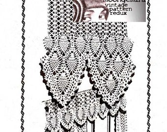 Crochet Curtains and Valance with Pineapple Stitch Scallops Vintage Mail Order Design 407 Crochet Pattern PDF