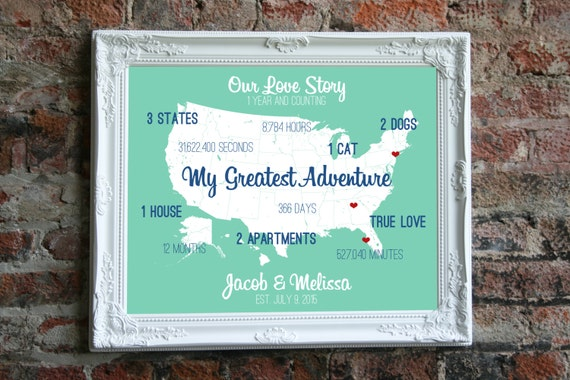 24th Wedding Anniversary Gift Ideas: 1st Anniversary Gift Personalized Anniversary Gift 1 By