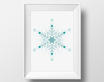Winter Print, Winter Art Print, Winter Printable, Snowflake Print, Snowflake Printable, Ice Blue Snowflake, Winter Printable Art