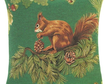 squirrel pillow cover - squirrel gift - squirrel decor - green pillow - 18x18 belgian tapestry throw pillow - pinetree pilllow cover
