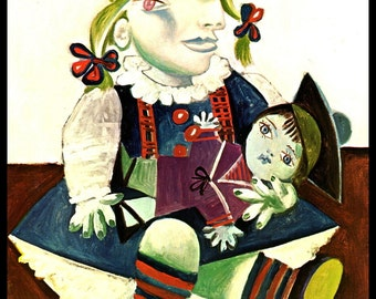 """Picasso, Pablo Picasso Print, Picasso Art Print, Picasso Paintings,""""Maia mit Matrosenpuppe"""", Circa 1938, Vintage Book Page Print"""