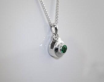 Silver emerald pendant, Emerald pendant, green neckpiece,Simple silver emerald pendant, Silver & emerald, natural green emerald lady pendant