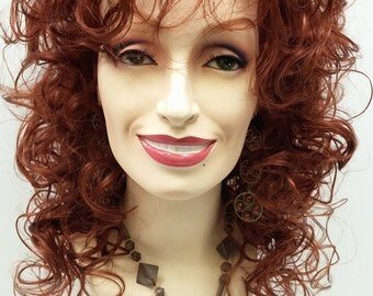 Long 18 inch Auburn Curly Dolly Parton Style Wig. Stage Wig. Cosplay Wig. Festival Wig. [07-193-Dolly-130]