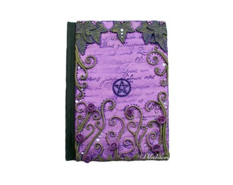 Pentagram Journal - Handmade Polymer Clay Pagan/Wiccan Ivy Book of Shadows - Fantasy/Gothic Notebook