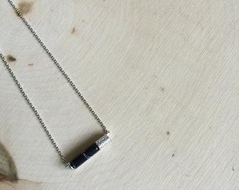 Silver Stone Tube Pendant Necklace, Small Pendant necklace
