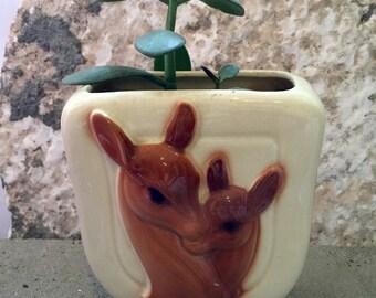 Vintage Ceramic Deer & Fawn Planter