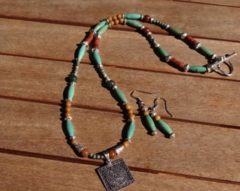 "SUMMER SALE — Turquoise Howlite and Earthy Jasper Necklace Set — ""Tenotitchlan"""