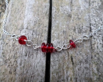 Red Rondelles Sterling Silver Chain Necklace
