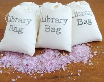 25 Mini Bath Salts 4 oz - Library Bag, Party Favors, Wedding Favors, Reader Gifts