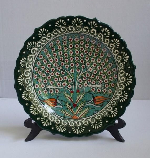 Tree Of Life Design Hand Made Turkish Ceramic Plate, Serving Platter, Food Safe Art,Colorful Wall Hanging Plate, Stone wear wall hanging,Art