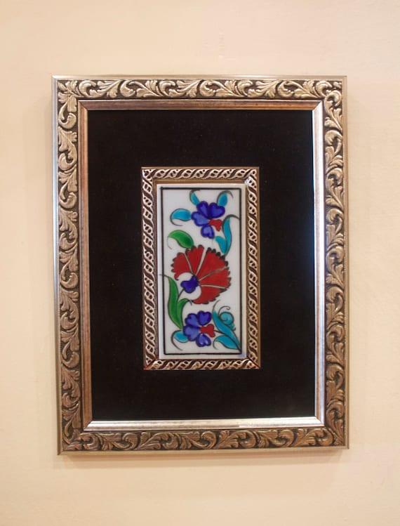 Framed Tile, 5x10cm tile, Iznik Tile, Iznik Ceramics, Turkish Ceramic Tile, Wallhanging Decor, Floral Wall Decor, Christmas Gift, Carnations