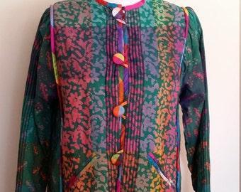 Batik jacket, colorful jacket, cotton jacket, silk jacket, s, m, ethnic jacket