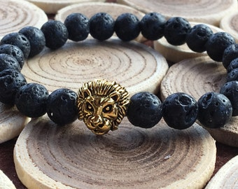 Mens Lion Bracelet/Leo Lion Jewelry/Black Lava Gemstone/Bracelet for Men/Lionhead Bracelet/Men Jewelry/Gift for Him/Leo Bracelet/Protection