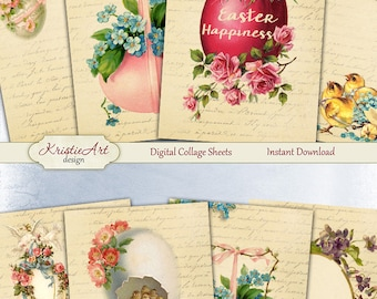 75% OFF SALE Easter Sunday - Digital Collage Sheet Digital Cards C141 Printable Download Image Tags Digital Atc Cards ACEO Easter Cards