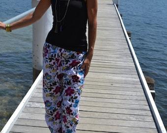SALE White cotton pyjamas pants / pajamas / lounge pants with pink and aqua blue flower pattern