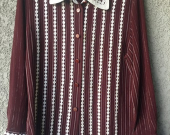Maroon button up boxing blouse
