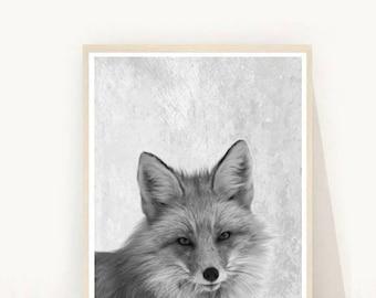 Fox Print, Fox Photo, Printable Art, Woodland Decor, Black And White Fox, Woodland Art Print, Wall Decor, Wall Art, digital Download