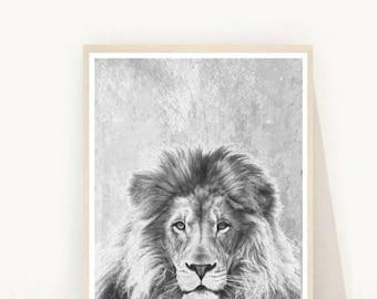 Lion Print, Lion Photo, Printable Art, Black And White Lion, Art Print, Textured, Nursery Print, Wall Decor, Wall Art, Digital Download