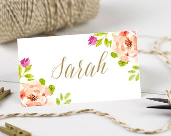 Personalised Printable, Wedding Place Cards,Name Cards - Pink and Gold Floral Collection
