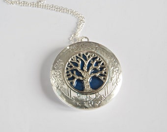 Locket Necklace Tree of Life Family Tree Jewelry Christmas gift for mom Silver Photo Locket Vintage Jewelry Memory necklace Personalized