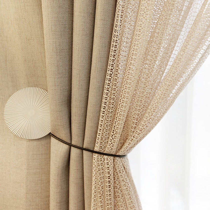 Ribbed beige sheer voile curtain Beige curtains